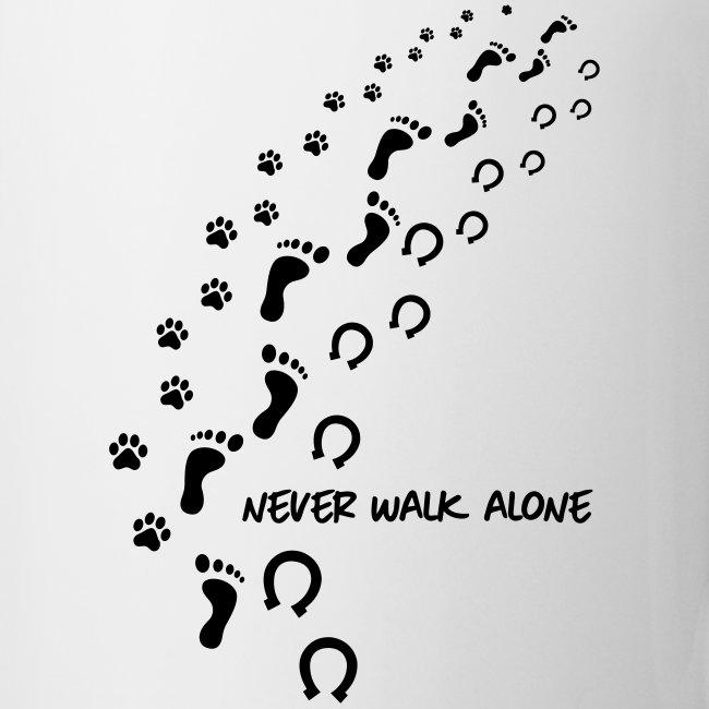 Vorschau: never walk alone hund pferd - Tasse