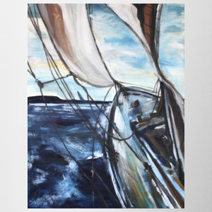 boat sailing vessel Sea Wind storm waves painting - Mug