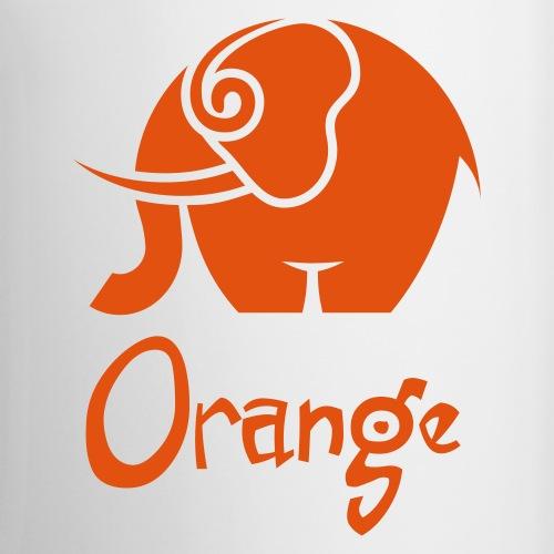 orange elefant und schrift - Tasse