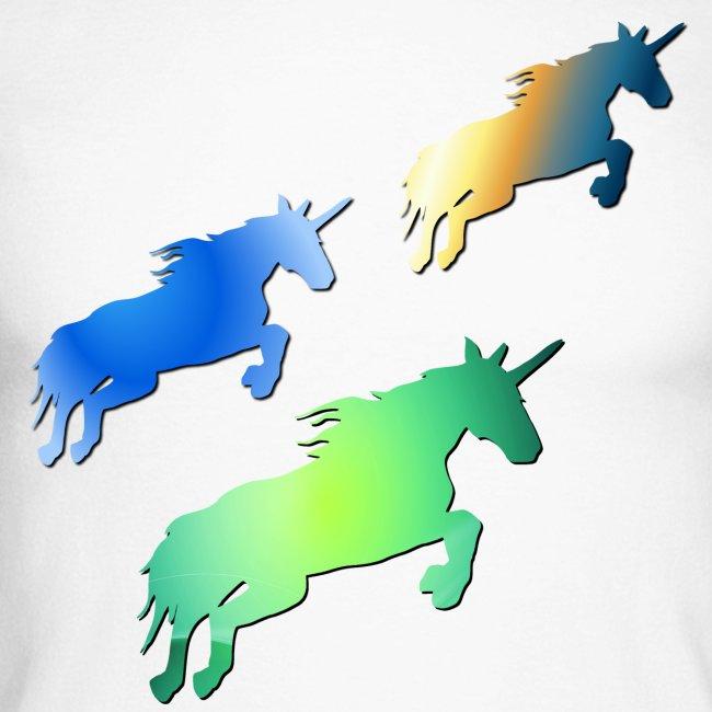 Three lucky mane fairy tale unicorns leaping
