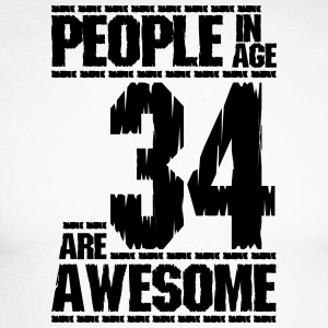 PEOPLE IN AGE 34 ARE AWESOME - Men's Long Sleeve Baseball T-Shirt