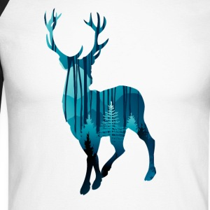 Deer in the woods in the evening - Men's Long Sleeve Baseball T-Shirt