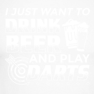 DART I JUST WANT TO DRINK BEER AND PLAY DARTS - Männer Baseballshirt langarm