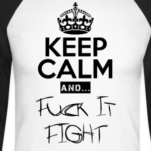 Keep Calm and ... Faen Fight - Langermet baseball-skjorte for menn