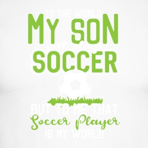 To the world my son just plays soccer ... - Men's Long Sleeve Baseball T-Shirt