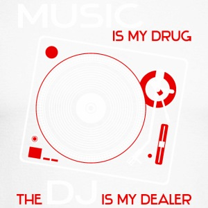 Music is my drug - the dj is my dealer - red - Men's Long Sleeve Baseball T-Shirt