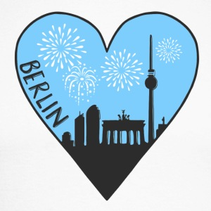 Berlin by night, heart, city, I love, Silhouette - Men's Long Sleeve Baseball T-Shirt