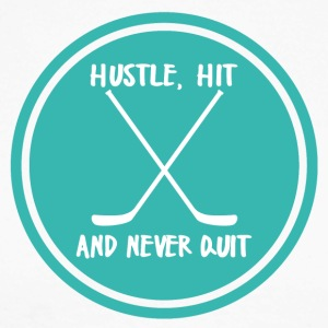 Hockey: Hustle, Hit and never quit. - Men's Long Sleeve Baseball T-Shirt