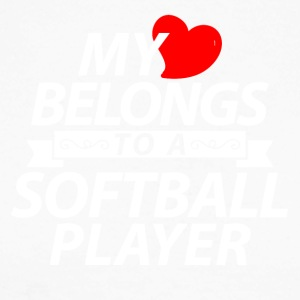 My heart belongs to a softball player - Men's Long Sleeve Baseball T-Shirt