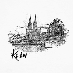 Cologne, city view as a sketch - Men's Long Sleeve Baseball T-Shirt