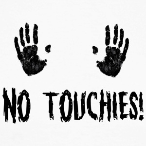 No Touchies in Black 2 Hands Above Text - Men's Long Sleeve Baseball T-Shirt