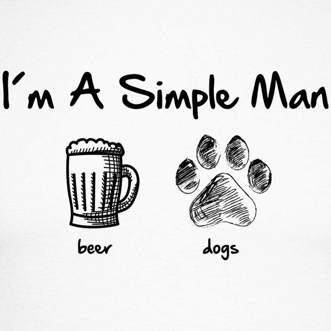 Vorschau: simple man dogs beer - Männer Baseballshirt langarm