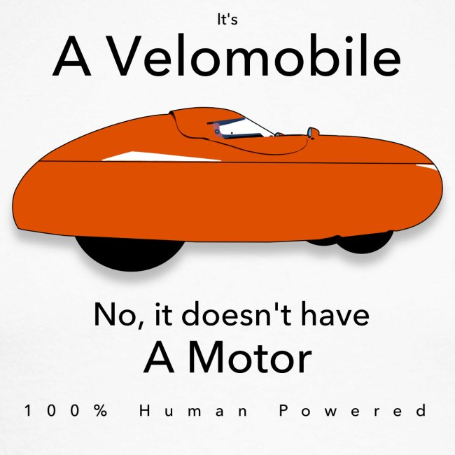it s a velomobile black text