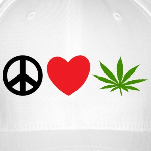 Peace Love Marijuana Cannabis Weed Pot - Flexfit Baseballkappe