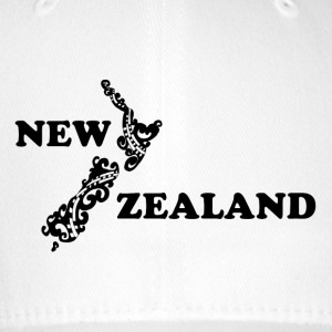 New Zealand: map and lettering in black - Flexfit Baseball Cap
