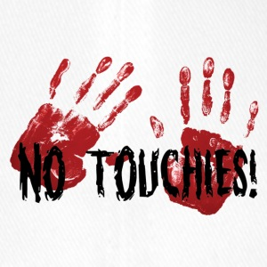 No Touchies 2 Bloody Hands Behind Black Text - Flexfit Baseball Cap