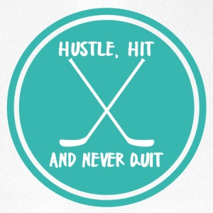 Hockey: Hustle, Hit and never quit. - Flexfit Baseball Cap