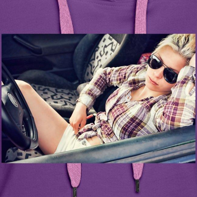 Cool woman in car