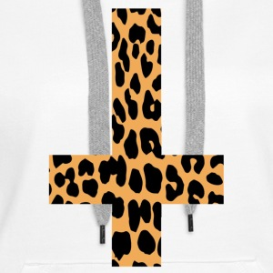 Leopard Inverted Cross - Women's Premium Hoodie
