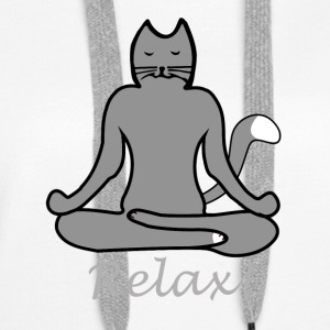 Relax Yoga Cat - Sweat-shirt à capuche Premium pour femmes