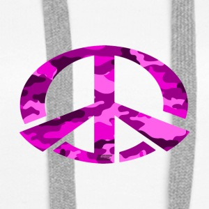 Peace - Pink Camo Edition - Women's Premium Hoodie