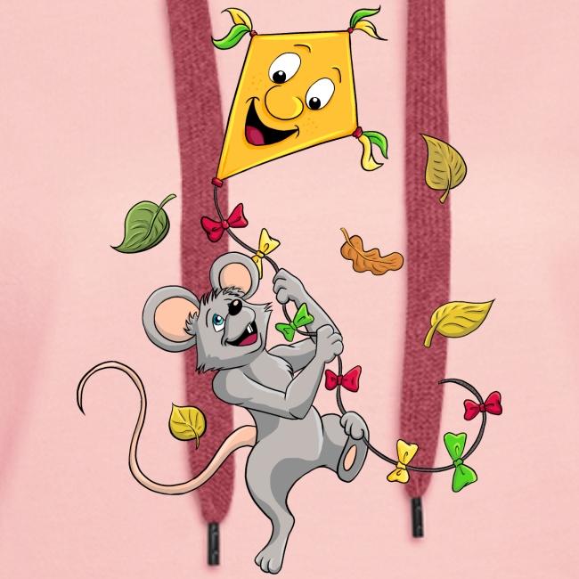Maus mit Drachen im Herbst