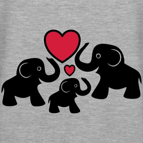 Zu dritt Elefanten Familie Mama Papa Baby Herz