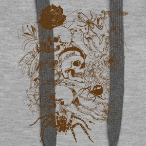 Skulls-and-Spiders-in-Brown - Felpa con cappuccio premium da donna