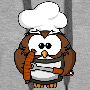 Owl on grill with food comic style - Women's Premium Hoodie