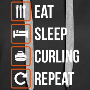 Eat Sleep Curling Repeat - Women's Premium Hoodie