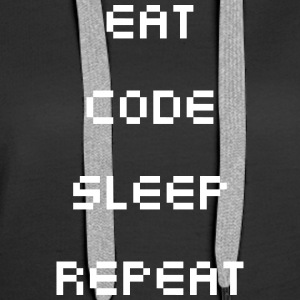Eat Sleep Repeat kode - Dame Premium hættetrøje
