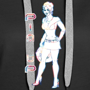 pin up gir with short skirt - Women's Premium Hoodie