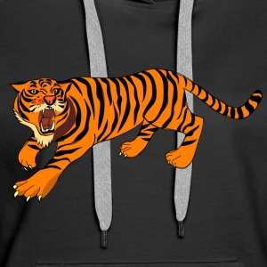 Tiger with claws and roar on - Women's Premium Hoodie