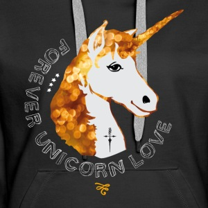 unicorn gold glitter girl girl love romance - Women's Premium Hoodie