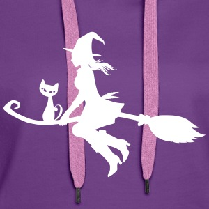 Witch on broom with cat - Women's Premium Hoodie