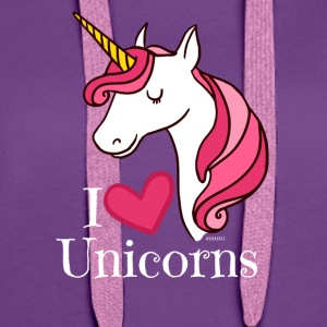 I Love Unicorns T Shirt - Heart Tee in White - Women's Premium Hoodie
