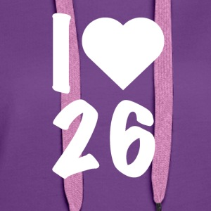 Darts - I Love 26 - Sweat-shirt à capuche Premium pour femmes