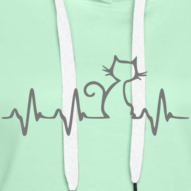 Vorschau: Cat Heartbeat - Frauen Premium Hoodie