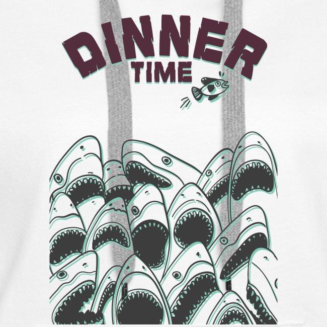 Dinner Time Funny Retro 90s Shark Shirt