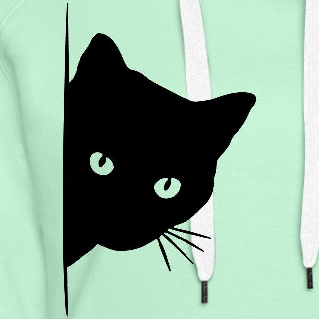 Vorschau: peeking cat - Frauen Premium Hoodie