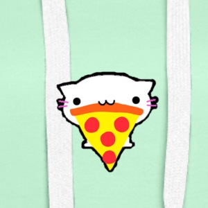 cat Pizza - Sweat-shirt à capuche Premium pour femmes