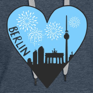Berlin by night, heart, city, I love, Silhouette - Women's Premium Hoodie