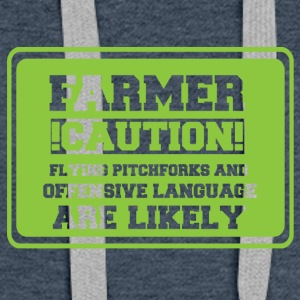 Farmer / farmer / farmer: Farmer! Caution! Flying - Women's Premium Hoodie