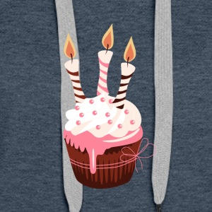 Cupcake with three candles - Women's Premium Hoodie