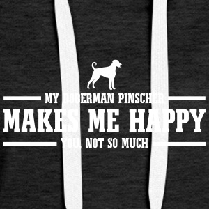 DOBERMAN PINSCHER makes me happy - Women's Premium Hoodie