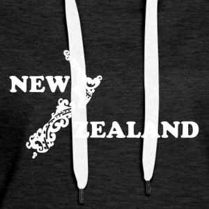 New Zealand: map and lettering in white - Women's Premium Hoodie