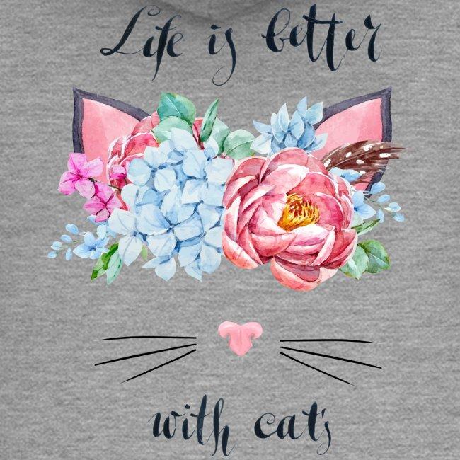 Vorschau: life is better with cats - Frauen Premium Kapuzenjacke