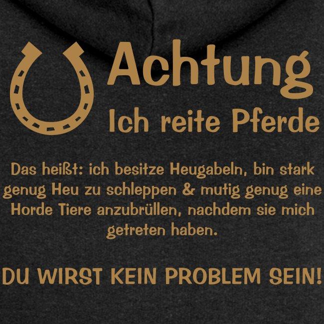 Vorschau: Achtung ich reite Pferde - Frauen Premium Kapuzenjacke