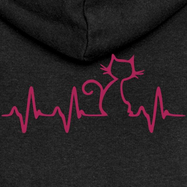 Vorschau: Cat Heartbeat - Frauen Premium Kapuzenjacke