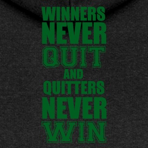 Football: Winners never quit and quitters never win - Women's Premium Hooded Jacket
